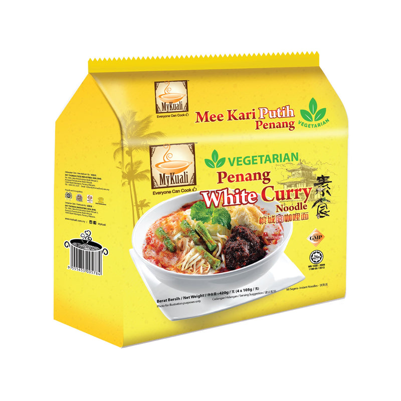 MyKuali Penang Veg White Curry Instant Noodle, 4 packets