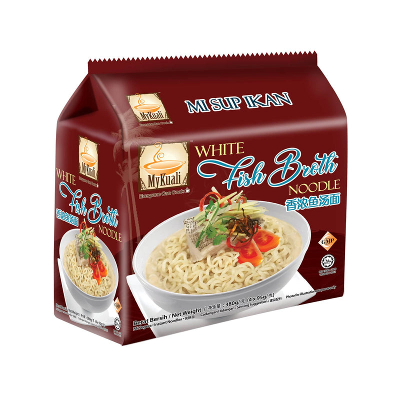 MyKuali White Fish Broth Instant Noodle, 4 packets