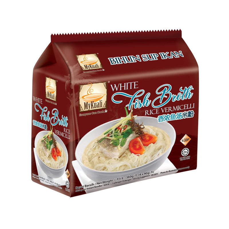 MyKuali White Fish Broth Instant Rice Vermicelli, 4 packets