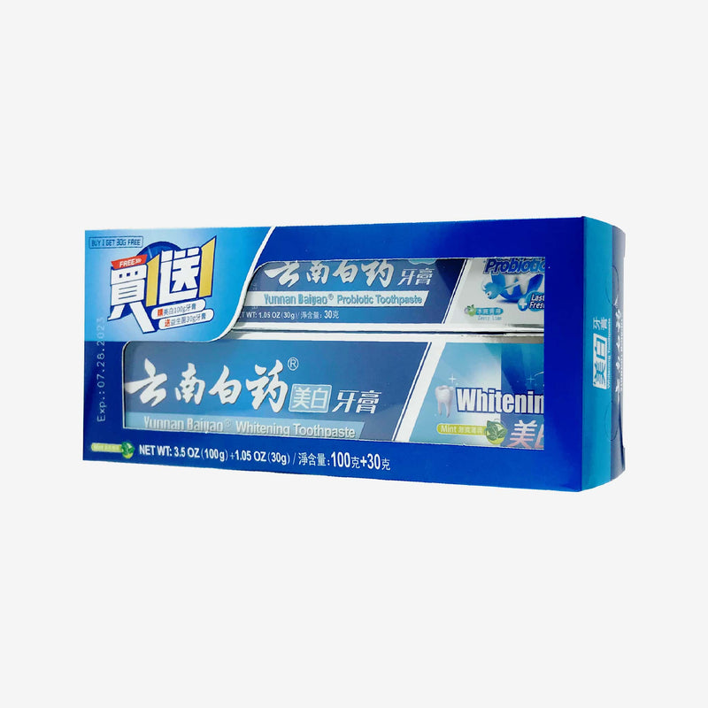 Yunnan Baiyao Whitening Toothpaste, 100g (bonus pack with Free Probiotic Toothpaste, 30g)