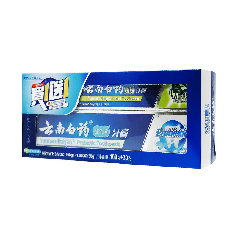 Yunnan Baiyao Probiotic Toothpaste, 100g  (bonus pack with Free Mint Toothpaste, 30g)