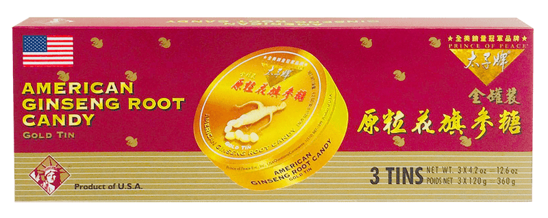 Prince of Peace American Ginseng Root Candy Gift Pack, 3x120g gold tins