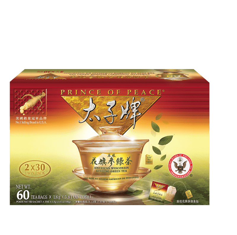 Prince of Peace American Ginseng Green Tea, Twin Pack (2 boxes X 30 tea bags)