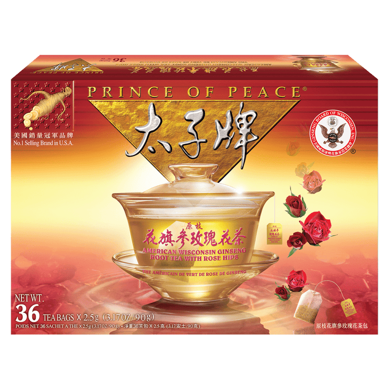 Prince of Peace American Ginseng Rose Tea, 36 tea bags