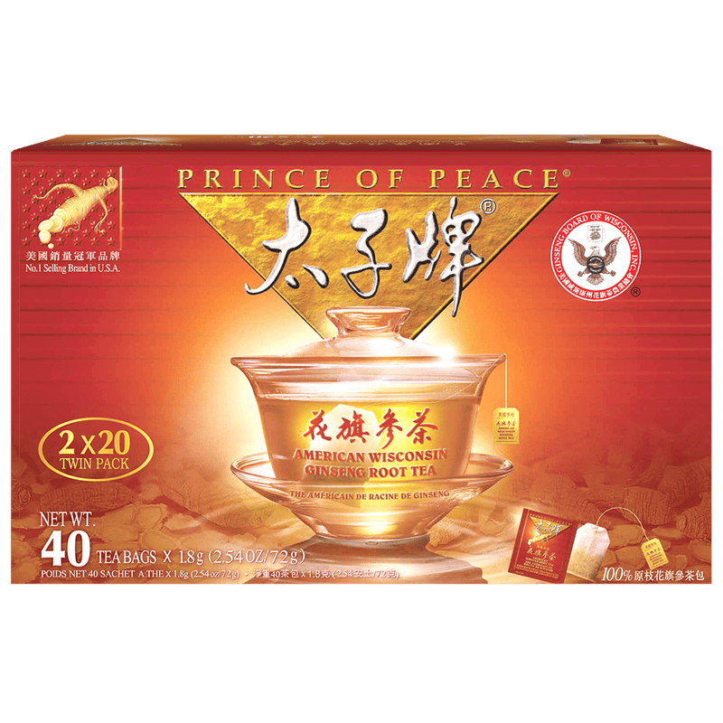 Prince of Peace American Ginseng Root Tea, Twin Pack (2 boxes X 20 tea bags)