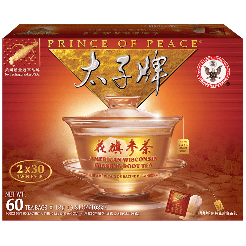 Prince of Peace American Ginseng Root Tea, Twin Pack (2 boxes X 30 tea bags)