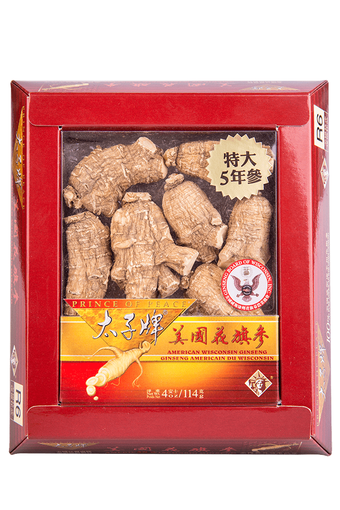 Prince of Peace Wisconsin American Ginseng 5 Year Jumbo Round Roots, 4 oz
