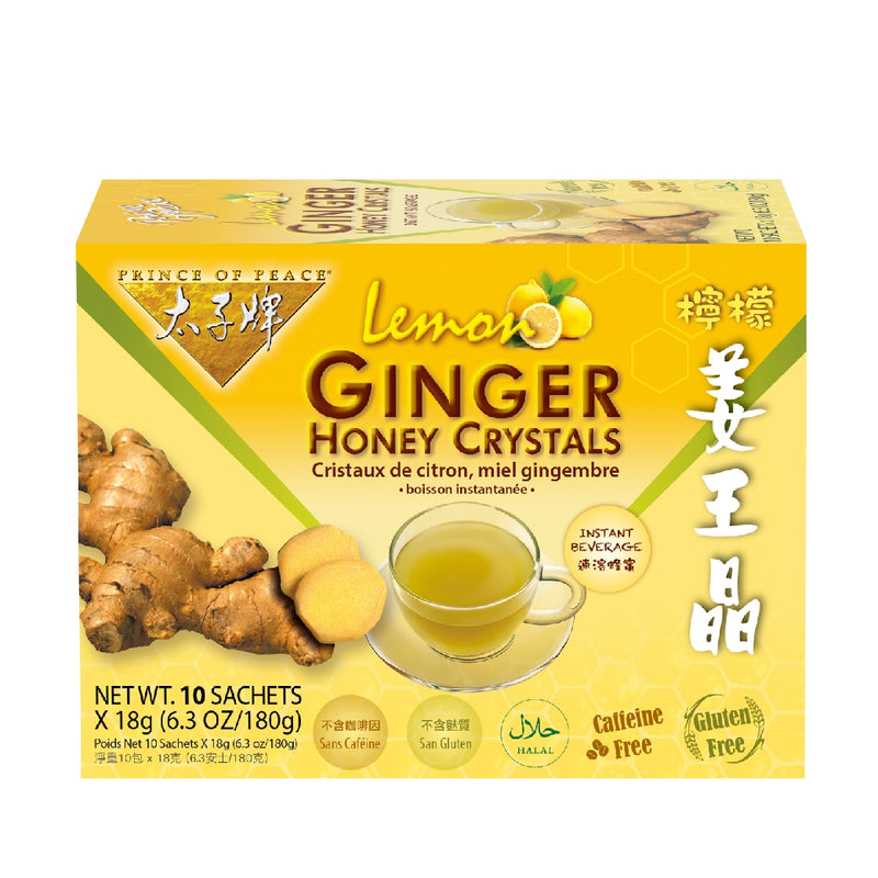 Prince of Peace Instant Lemon Ginger Honey Crystals, 10 sachets