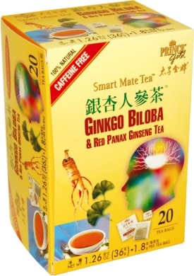 Prince Gold Smart Mate Tea - Ginkgo Biloba and Red Panax Ginseng, 20 tea bags