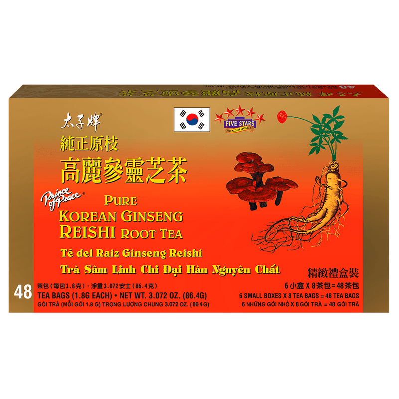 Prince of Peace Pure Korean Ginseng Reishi Root Tea, 48 tea bags