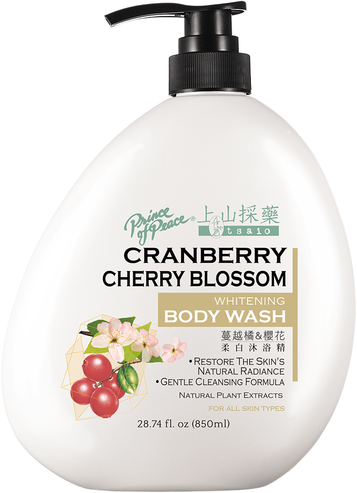 Tsaio Whitening Body Wash with Cranberry & Cherry Blossom, 850ml