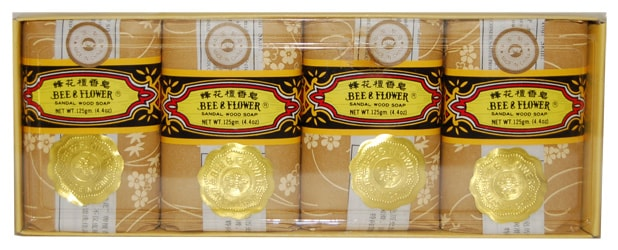 Bee & Flower Sandalwood Soap Large, 4.4 oz. (pack of 4 bars)