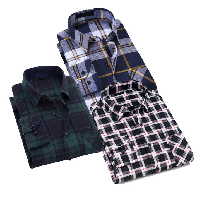 Combo Of 3 Men's Checkered Slim Fit Casual Shirts Regular