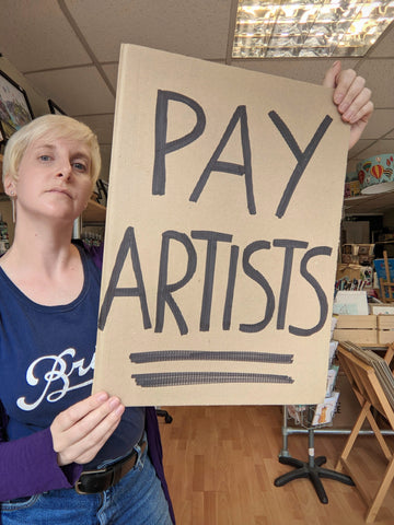 Small business owner demands for fair pay for artists