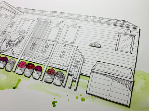 Hand drawn caravan portrait, made in Bristol by Paper Heart Productions