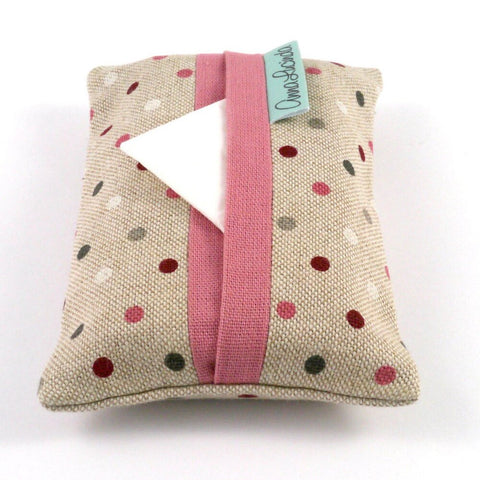 Dusky Pink Dotty Pocket Tissue Cover