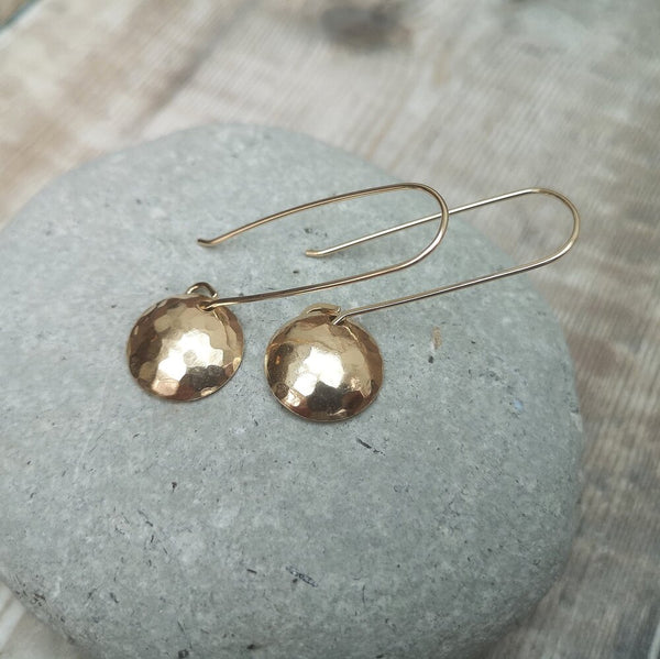 12 carat Gold Long Length Hammered Disc Earrings