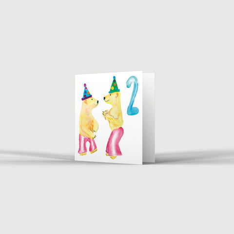2nd Birthday Two Bears in Flares Card