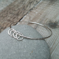 40th Sterling Silver Bangle with 4 Rings