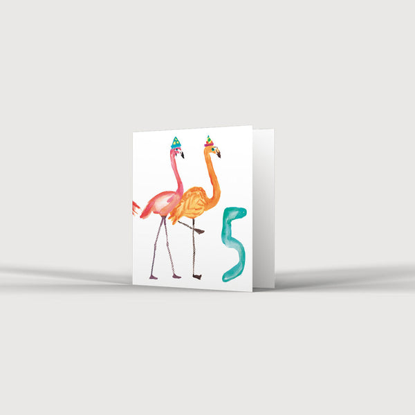5th Birthday Five Flamingos Card