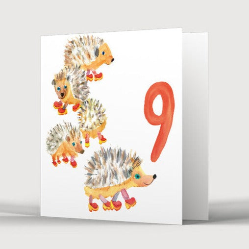 9th Birthday Nine Hedgehogs in Clogs Card