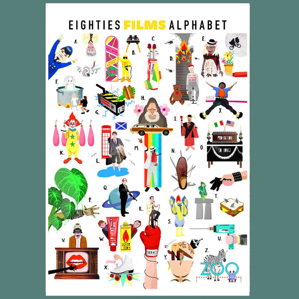 A-Z of Eighties Films Illustrated Print