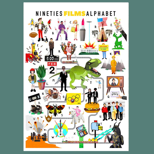 A-Z of Nineties Films Illustrated Print