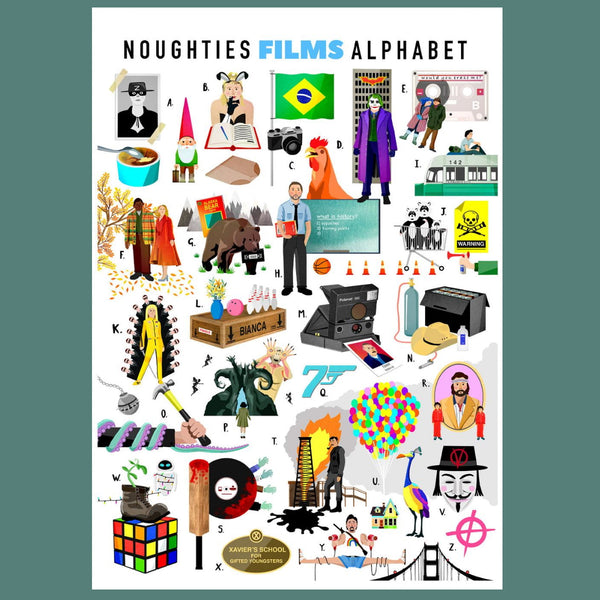 A-Z of Noughties Films Illustrated Print