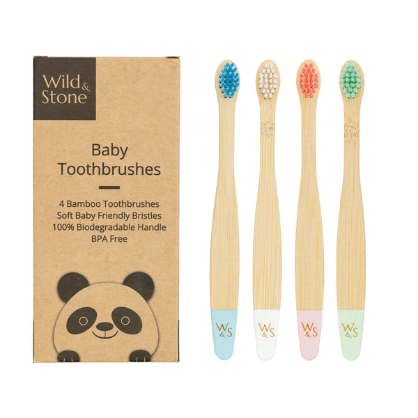 Bamboo Toothbrush - Baby - Soft Bristles - 4 Pack