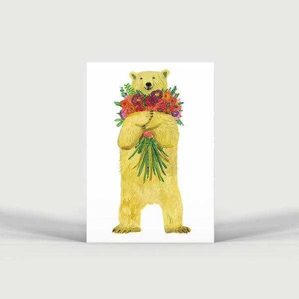 Bear and Flowers Print