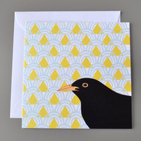 Multipack of three British Birds notecards on patterned backgrounds blank cards - blackbird card, goose card and pigeon card - multi buy