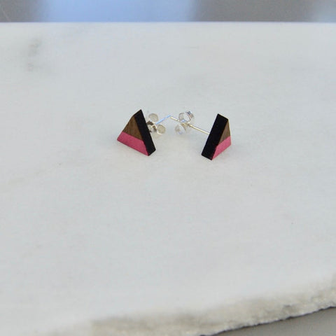 Walnut Mini Triangle Stud Earrings with Pink Stripe detail