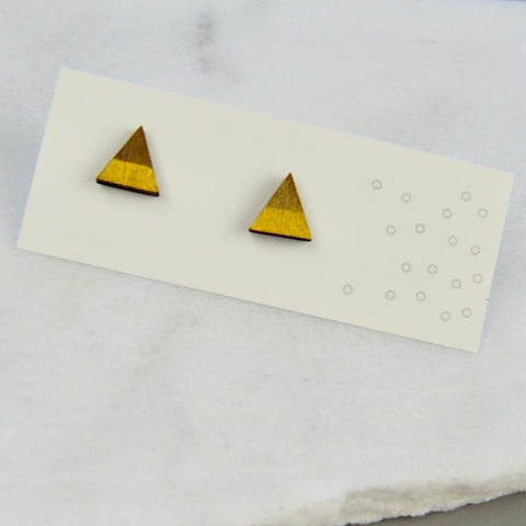 Walnut Mini Triangle Stud Earrings with Gold Stripe detail