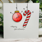 Candy Cane and Bauble - original pen and ink illustration painted with watercolour