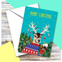 Stag Christmas Greeting Card