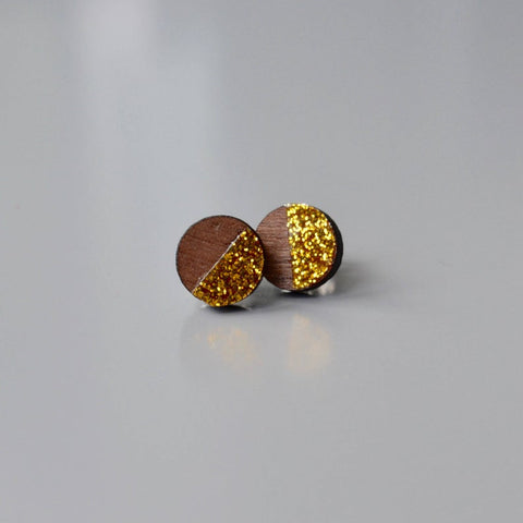 Walnut Circle Stud Earrings with Gold Glitter detail