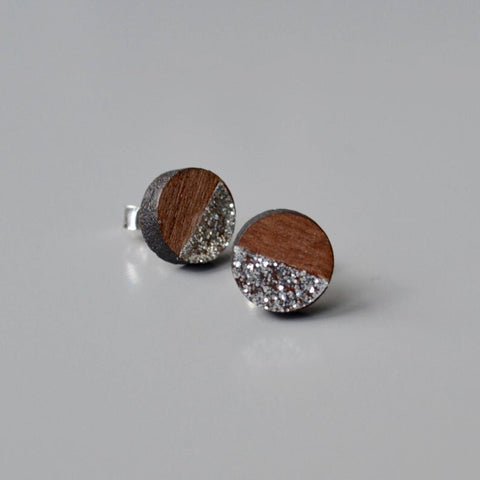 Walnut Circle Stud Earrings with Silver Glitter detail