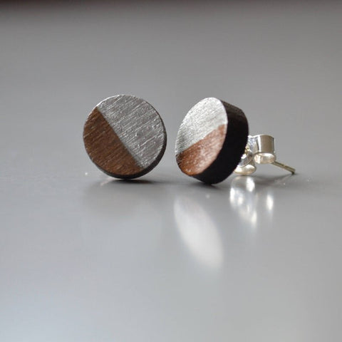 Walnut Circle Stud Earrings with Silver Leaf detail