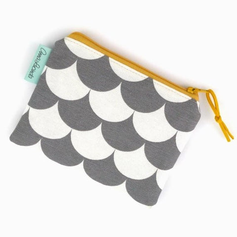 Grey and White Geometric Coin Purse