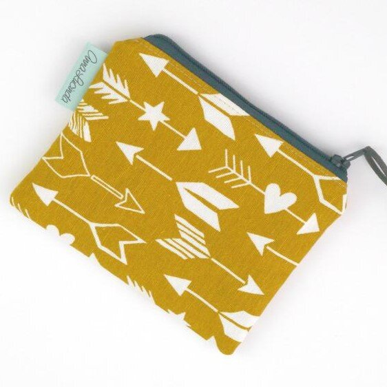 Coin Purse - yellow mustard and white cupid heart bow and arrow