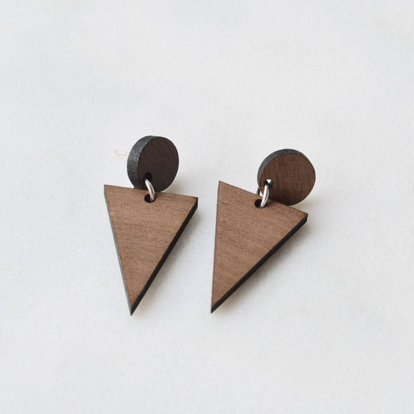 Walnut Triangle Drop Earrings
