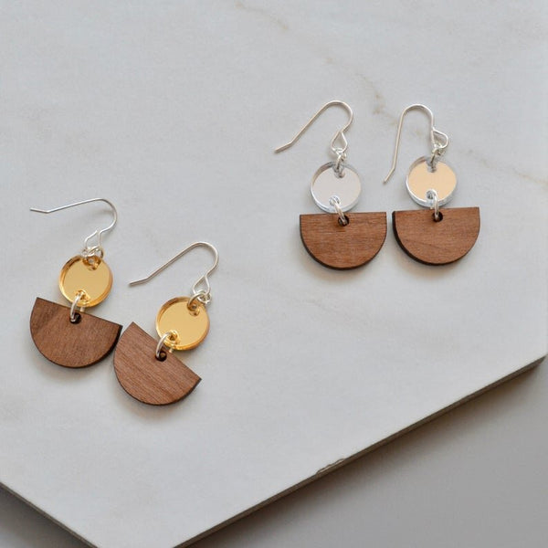 Walnut and Acrylic Drop Earring