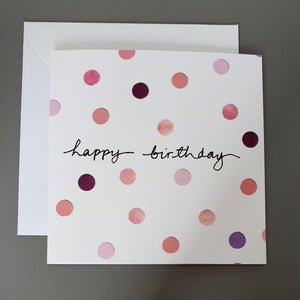 Dotty Pink Birthday Card