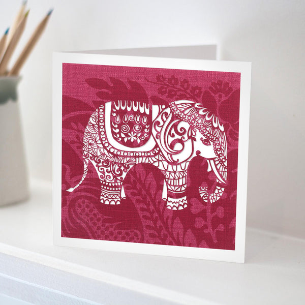 Red Indian Elephant Card