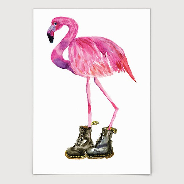 Flamingo in Black Boots Print
