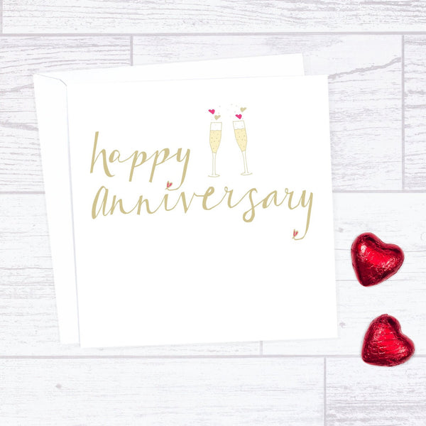 Champagne Happy Anniversary Card