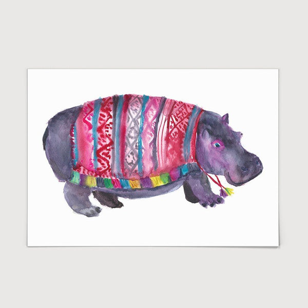 Hippo in a Poncho Print
