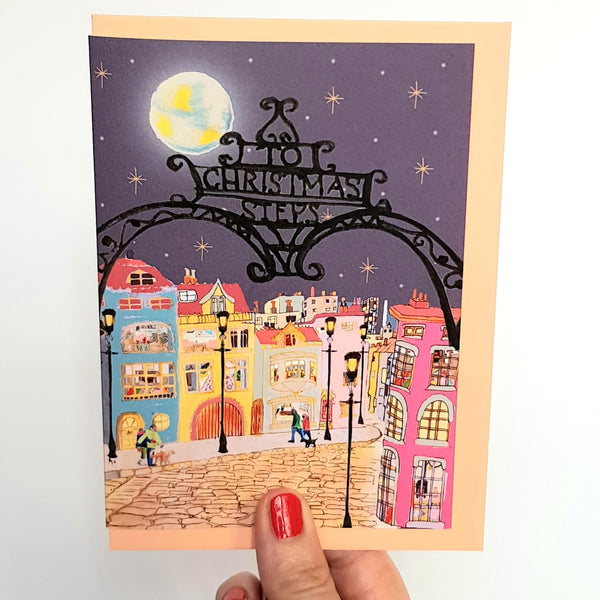 To Christmas Steps Greetings Cards