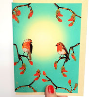 "Pack of 6 ""Two Robins"" Cards (not available as singles online)"
