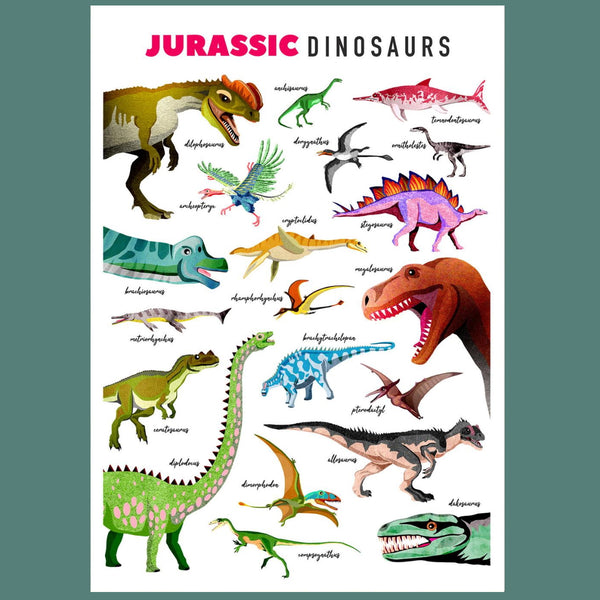 Jurassic Dinosaurs Illustrated Print